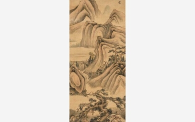 Attributed to Qi Zhijia (Chinese circa 1595-1670) 或祁豸佳(盒子墨书) Travelers in a Mountainous Landscape 山中行旅图