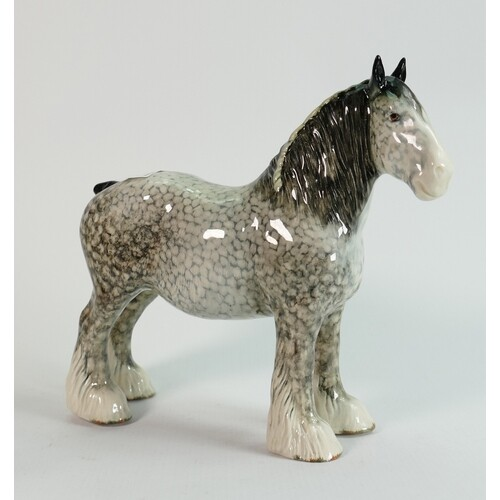 Beswick rocking horse grey shire 818: lovely early version w...