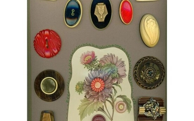 CARD OF ASSORTED CELLULOID BUTTONS INCLUDING PICTORIAL