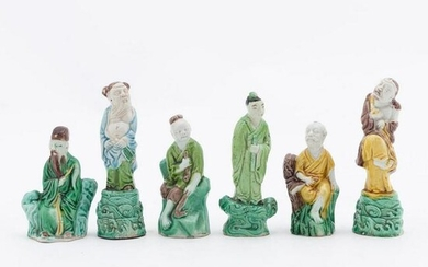 CHINESE 6 SMALL MULTI-COLOR PORCELAIN IMMORTALS