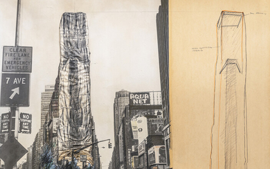 CHRISTO Allied chemical tower wrapped, project for 1. Times square, New York, 1968