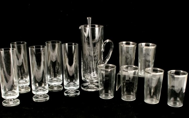 COCKTAIL PITCHER AND GLASSES SET SILVER RIMS