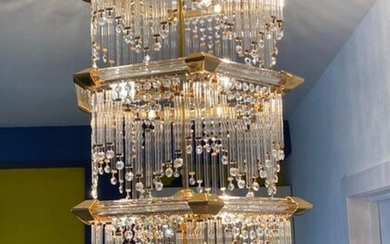 Chandelier, Exclusive and Luxurious Design Lamp in Bronze and Murano Glass - 10 Light bulbs - 3 Floors (1)