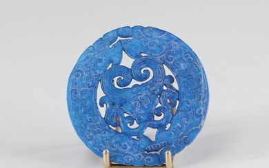 China pendant in Lapis-Lazuli dragons and carved