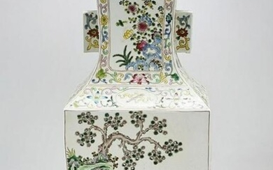 Chinese Enameled Porcelain Four-Faceted Vase