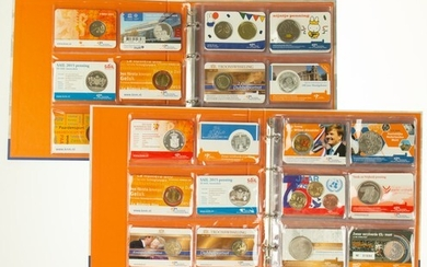 Collection coincards with 2, 5 en 10 Eurocoins and medals...