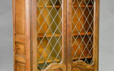 Country French Stained Leaded Glass Cabinet