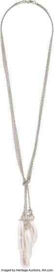Diamond, Freshwater Cultured Pearl, White Gold Necklace Stones: Full-cut...