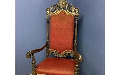 Early C18th black walnut French Bishop's chair (reputed prov...