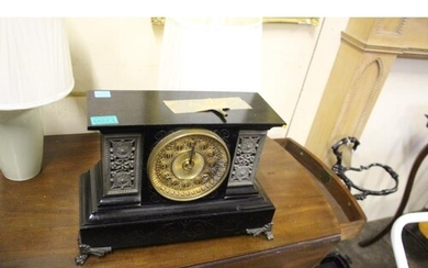 Edwardian Cast Iron Mantle Clock with Metal Mounts and Feet ...