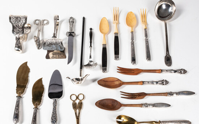 Fifteen Assorted French and American Partial Silver and Wood Serving Utensils