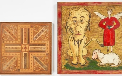 Folk Art Carved Lion & Lamb w/ Marquetry Game