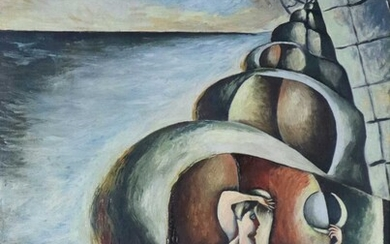 Francis Cox (British 1916-1992) Lady Holding the Moon Inside a Shell