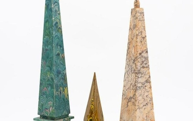 GROUP, THREE ASSORTED OBELISKS INCLUDING MARBLE
