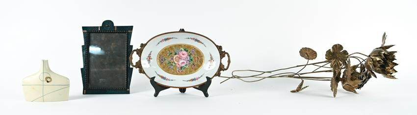 GROUPING OF (4) DECORATIVE OBJECTS INCL. LIMOGES