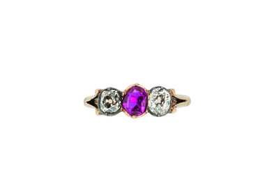Gold, Ruby, and Diamond Ring