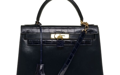 Hermès - Kelly 28 sellier bandoulière en cuir box bleu marine customisé avec du crocodile Crossbody bag