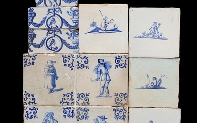 (-), Lot glazed earthenware with blue and white...