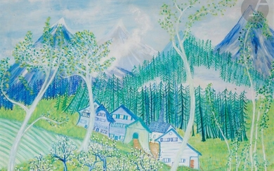 Lise BRACHET (born 1939)Le Hameau suisse, 1981Oilon canvas.Signed and dated lower right.Titled on the frame.59 x 72 cm