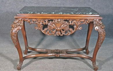MARBLE TOP CARVED FOYER TABLE
