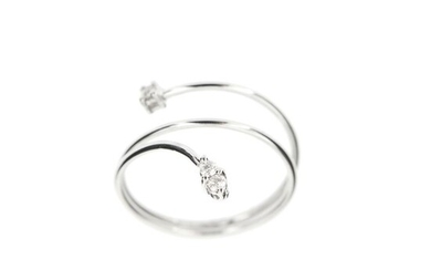 Made in Italy - 18 kt. White gold - Ring - 0.10 ct Diamond