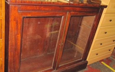 Mahogany Two Door Glazed Bookcase.