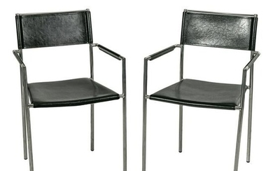 Modern Black Leather & Chrome Stacking Arm Chairs
