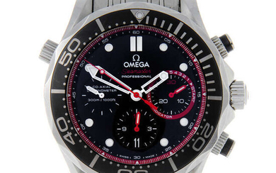 OMEGA - a limited edition gentleman's stainless steel Seamaster Diver ETNZ chronograph bracelet watch.