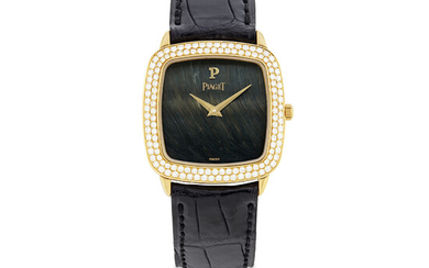 PIAGET, GOLD AND DIAMOND-SET WITH HARD STONE DIAL