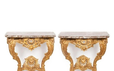PR., LOUIS XV STYLE GILTWOOD MARBLE TOP CONSOLES