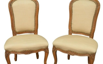 Pair of Louis XV Style Slipper Chairs, height 34