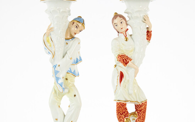 ROSENTHAL, candlesticks, a pair, porcelain, Germany, in the form of woman and man, polychrome painted, details in gold.