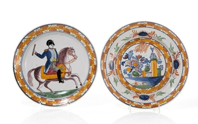 TWO 18TH C FRENCH FIGURAL FAIENCE POTTERY CHARGERS
