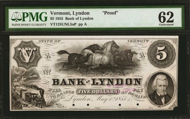 UNITED STATES. Bank of Lyndon. $5, 1855. P-Unlisted. Proof. PMG Uncirculated 62.