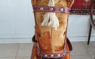 VINTAGE 60S ROCKING HORSE IN PADDED FABRIC