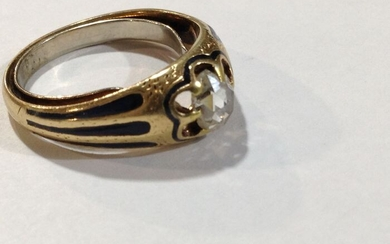 Vintage 18k gold ring with natural diamond 0.5ct and cobalt enamel - 18 kt. Gold - Ring - 0.50 ct Diamond