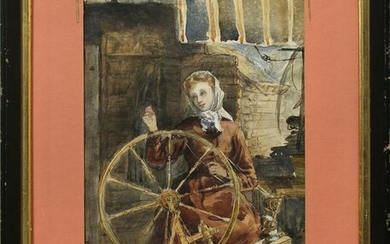 Watercolor, Woman Spinning Wheel