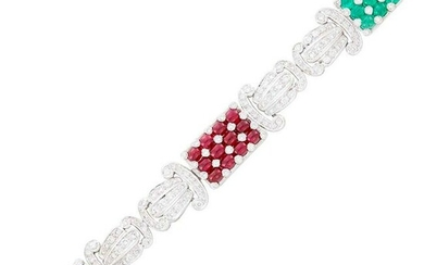 White Gold, Cabochon Ruby, Emerald, Sapphire and