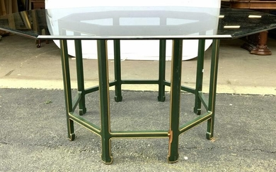 Wood Base Glass Top Octagonal Dining Table