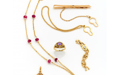 """Yellow 18K gold lot consisting of a tie clip, a pendant with the number """"13,"""" a red stone and pearl…Read more"""