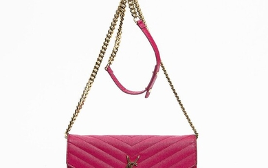 """Yves Saint Laurent: A """"Wallet On A Chain"""" of pink chevron leather with gold tone hardware and a chain strap. – Bruun Rasmussen Auctioneers of Fine Art"""