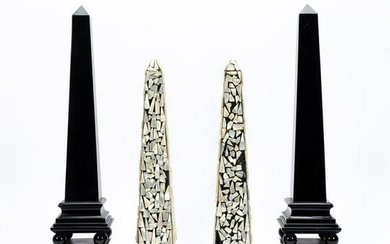 2 PAIRS OF OBELISKS, EBONIZED AND MOTHER OF PEARL
