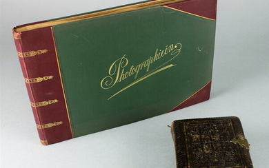 2 photo albums brown leather album with clasp, containg 40...