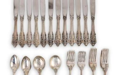 "(57 Pc) Sterling Wallace ""Grand Baroque"" Flatware Set"