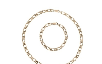 A 9CT GOLD FANCY LINK NECKLACE, with matching bracelet, 39.9...