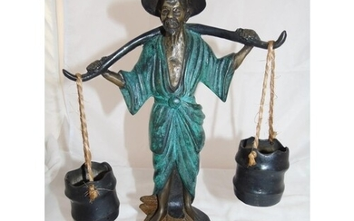 A Chinese bronze water carrier figurine
