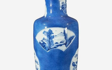 A Chinese powder blue-glazed porcelain rouleau vase