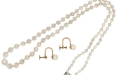 A Diamond and Pearl Necklace, Circa 1920 A high quality string of graduated cultured pearls, st...