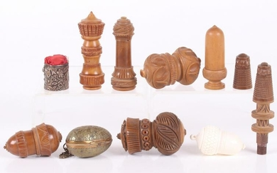A Group of Antique Needle, Thimble Cases