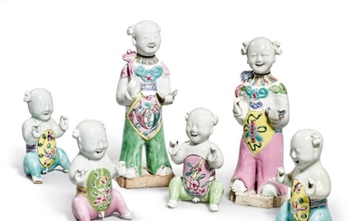 A Group of Six Chinese Export Famille-rose figures, Qing Dynasty, 18th and 19th Century | 清十八及十九世紀 粉彩童子仕女擺件六件